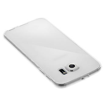 Silicone custodia trasparente + coperchio anteriore dello schermo di tocco per Samsung Galaxy S6 Edge