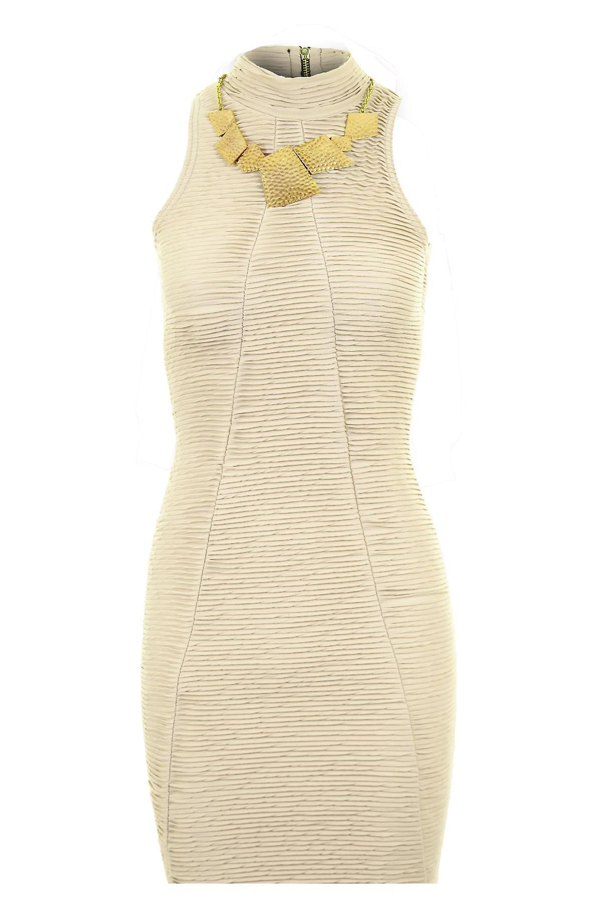 Ladies Sleeveless Turtle Neck Ribbed Back Zip Gold Necklace Women's Bodycon Dress