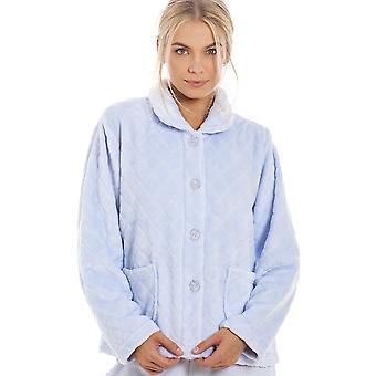 Camille Womens superzacht licht blauwe knop vooraan Diamond Print Bed jas