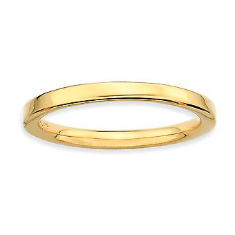 925 Sterling Silver Stackable Expressions Gold Flashed Polished Ring Jewelry Gifts for Women - Ring Size: 5 to 10