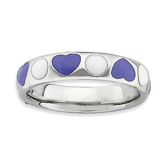 925 Sterling Silver Rhodium-plated Stackable Expressions Polished Purple White Enameled Ring - Ring Size: 5 to 9