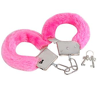 TRIXES Soft Furry Steel Fully Working Fancy Dress Handcuffs with 2 Keys Pink