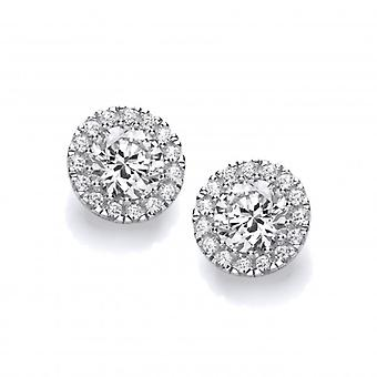 Cavendish French Simple Silver & Cubic Zirconia Stud Earrings