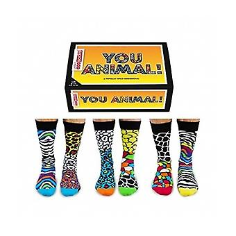 Oddsocks Unidos, meias de Animal Print de Mens