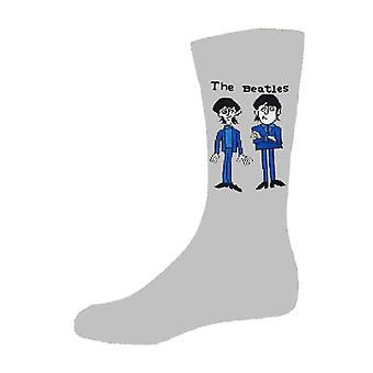 The Beatles Cartoon Group Standing Official Womens New Grey Socks (UK Size 4-7)
