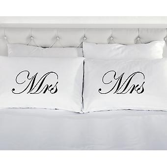 White with Black Mrs and Mrs Pillowcases