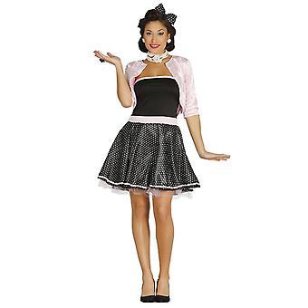Womens années 1950 noir Polka Dot costumé