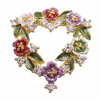 قلب على شكل بروش لون المينا زهرة الحب كعكة باقة دبوس