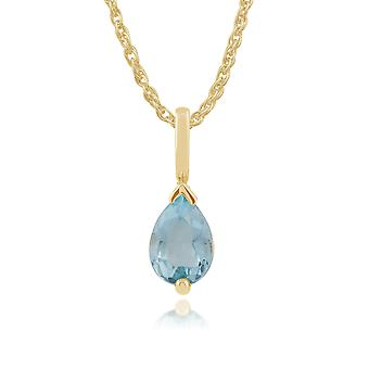 Classic Pear Blue Topaz Claw Set Single Stone Pendant Necklace in 9ct Yellow Gold 22543