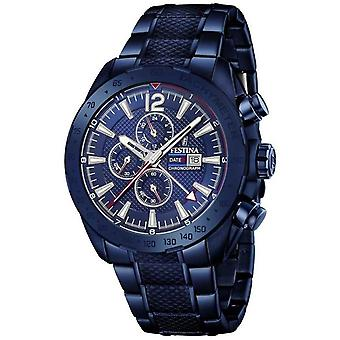 Festina   Mens Blue Plated Chronograph   Stainless Steel Bracelet   F20442/1 Watch