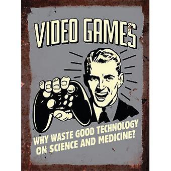 Vintage Metal Wall Sign - Video Games