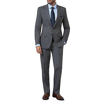 Dobell Mens Grey Sharkskin 2 Piece Suit Slim Fit Notch Lapel