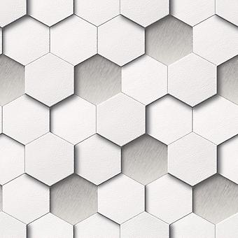 3D Hexagon Wallpaper Geometric Modern Luxury Leather Faux Padded Look White Grey