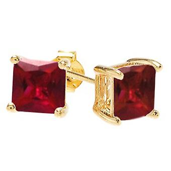 Ah! Jewellery Square Ruby Crystals From Swarovski Studs