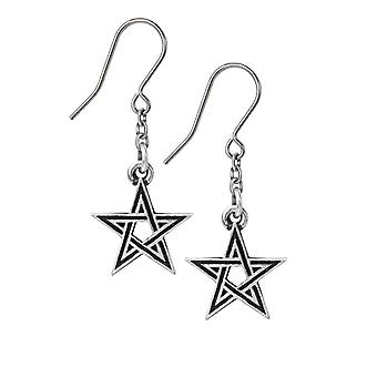 Alchemie Gothic Black Star Pewter Ohrringe