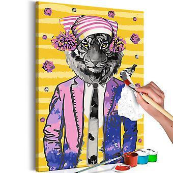 Cuadro para colorear - Tiger in Hat