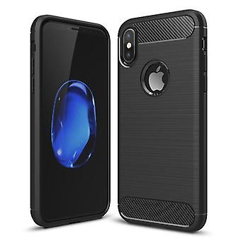 iPhone Xs shell rubber in carbon fiber design-Black