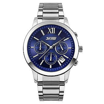 Skmei Mens Blue Chronograph Watch Multi Dial Date Display Steel Strap UK
