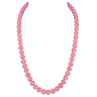 Eternal Collection Carnival Coral Pink Czech Glass Crackle Bead Silver Tone Long Necklace