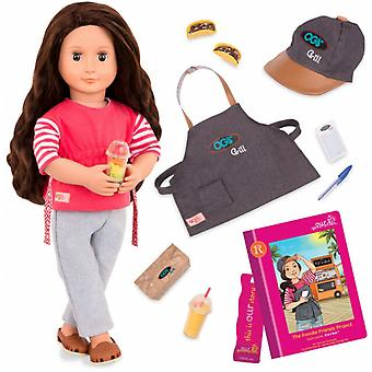 Our Generation Rayna And Foodie Friends Project Book Deluxe OG Doll