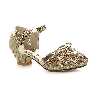 Ajvani girls low heel glitter diamante bow buckle party shoes