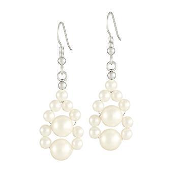 Eeuwige collectie sieren wit Shell parel zilver Toon Drop doorstoken oorbellen