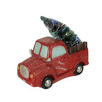 Innevata rosso vintage camion trasportare LED illuminare albero di Natale Statua