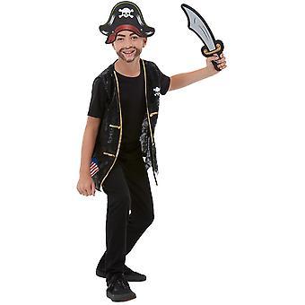 Pirate lasten puku setti musta liivi EVA hattu ja miekka Unisex karnevaali meri rosvo