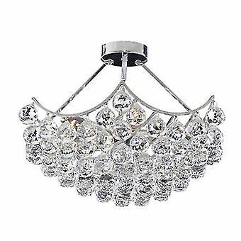 5 lys loft semi flush Light krom med krystaller
