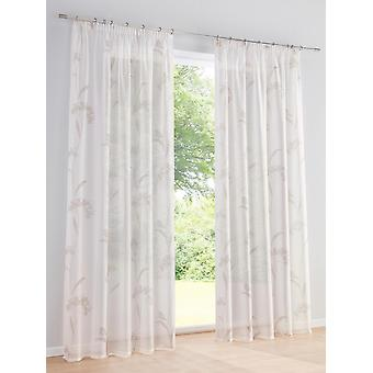 Heine home set of 2 curtain light transparent decostore printed linen optics universal ribbon HxB 225x140 cm