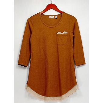 LOGO by Lori Goldstein Top 3/4 Sleeve Knit Top w/ Lace Hem Brown A272201