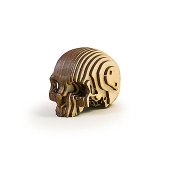 Crafts - skull puzzle small raw wood 3x2x2in