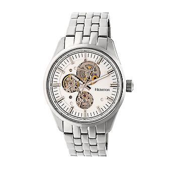 Heritor Automatic Stanley Semi-Skeleton Bracelet Watch - Silver