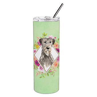 Irish Wolfhound Green Flowers Double Walled Stainless Steel 20 oz Skinny Tumbler