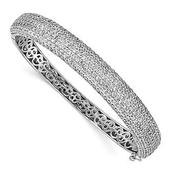 925 Sterling Silver Pave Polished Prong set Rhodium plated Rhodium Plated With CZ Cubic Zirconia Simulated Diamond Hinge