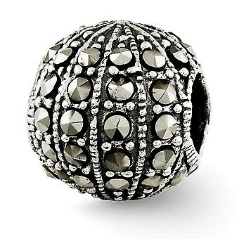 925 Sterling Silver finish Reflections Marcasite Bead Charm Pendant Necklace Jewelry Gifts for Women