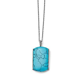 Stainless Steel Polished Fancy Lobster Closure Simulated Turquoise Necklace 18 Inch Jewelry Gifts for Women