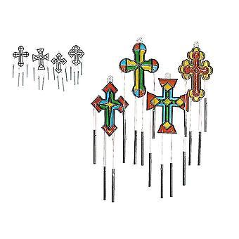 12 kristna kyrkan Cross plast Suncatcher Wind Chime hantverk