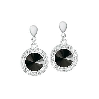 Eternal Collection Viva Jet Black Austrian Crystal Silver Tone Drop Pierced Earrings