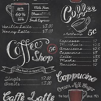 Black White Coffee Shop Fond d'écran Rétro Vintage Chalk Board Typography Rasch