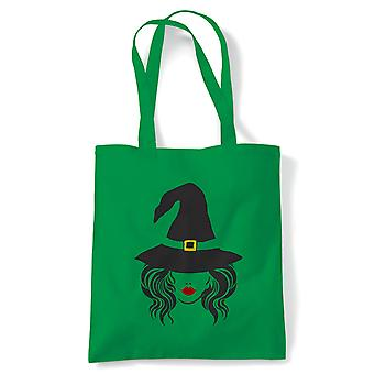 Witch Face, Tote - Reutilizável Shopping Canvas Bag Gift