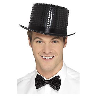 Osoby dorosłe czarny cekin Top Hat Fancy Dress akcesorium