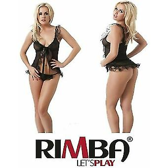 Amorable' by Rimba Lingerie Sexy Black Frilly Babydoll with G-String