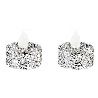 SALE - Two Silver Glitter Flickering Tealights - With Batteries