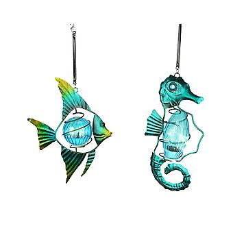 Blue Glass and Metal Art Fish and Seahorse Accent Light Hanging Ornament Set