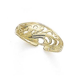 14k Yellow Gold Domed Filigree Toe Ring Jewelry Gifts for Women - 1.1 Grams