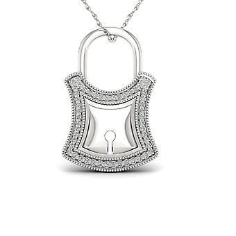 Igi certified s925 sterling silver 0.15ct tdw diamond lock fashion necklace