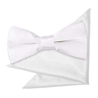 White Plain Satin Bow Tie & Pocket Square Set for Boys