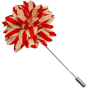 Bassin and Brown Stripe Flower Lapel Pin - Red/Beige