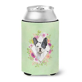 Black and White Frenchie Green Flowers Can or Bottle Hugger